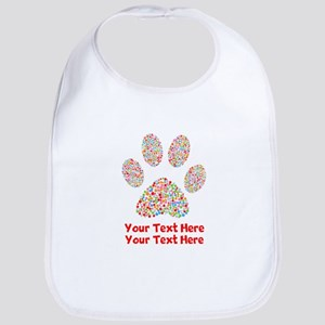 Dog Paw Print Customize Cotton Baby Bib